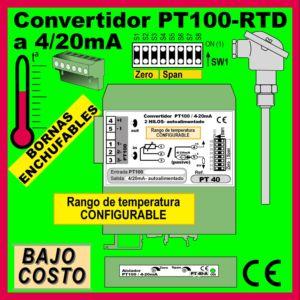 01a2- Convertidor Pt100-RTD CONFIGURABLE (salida 4-20mA)