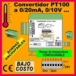 01a3- Convertidor Pt100-RTD CONFIGURABLE (salida 0-10V, 0-20mA)