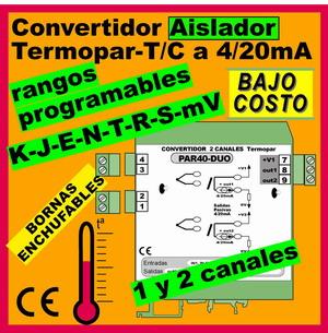 01d2- Convertidor TC-Termopar 1 y 2 CANALES aislados y programables (salida 4-20mA)