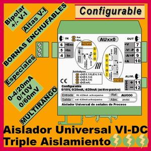 04c2- Aislador de 3 vías 24VDC configurable multirango