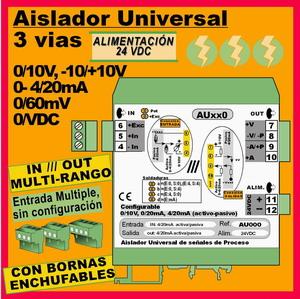 04c2- Aislador de 3 vías 24VDC configurable y multirango