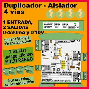 04e2- Duplicador Multirango 1 entrada, 2 salidas de 4-20mA o 010 Aislador de 4 vías a 24VDC