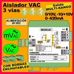04f2- Aislador de 3 vías para cualquier tension VAC hasta 1000VAC,a  24VDC