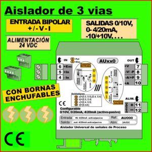 04g2- Aislador Universal de 3 vías 24 VDC entrada bipolar