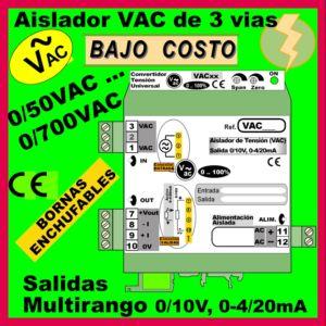 05b1- Aislador de Tensión Alterna hasta 700 VAC, salida 0-10V, 4-20mA