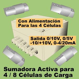 06d- Convertidor para 4-8 células de carga, salida configurable 0-10V, 0-20mA, 4-20mA