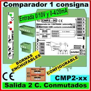 08a- Comparador entrada 0-20mA, 0-10v, salida relé conmutado 2- consignas