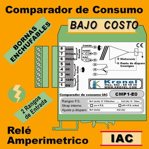 08h- Relé Amperimétrico - Comparador 1 entradas Amperios AC, salida Relé