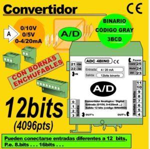 09b2- Convertidor Analógico (0-10V, 4-20mA) a Digital 12 bits, Binario, GRAY, BCD