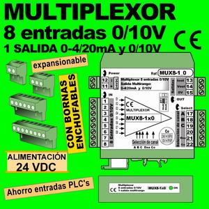 10b2- Multiplexor 8 entradas 0-10V, 1 salida 0-10V, y 4-20mA. EXPANSIONABLE