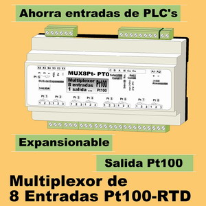 10e- Multiplexor 8 entradas Pt100-RTD, 1 salida Pt100-RTD