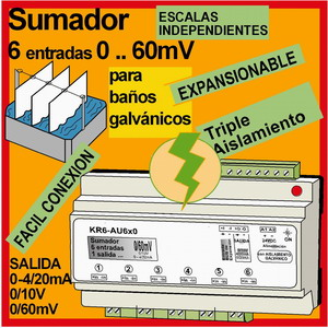 12c- Convertidor-Sumador con aislamiento de señales 0-60mV para Baños Galvánicos