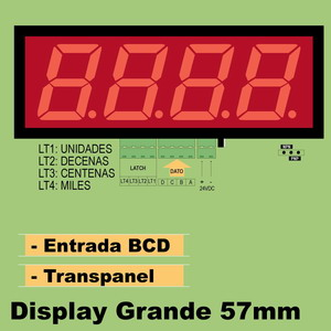 15a- Display GRANDE. 4 Digitos 57mm BCD. Traspanel