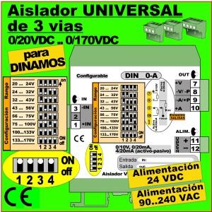 04c32- Aislador de 3 vías configurable para DINAMO (20..170VDC)