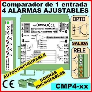 08a2- Comparador 4 reles entrada 0-20mA, 0-10v, salida relé conmutado 2- consignas